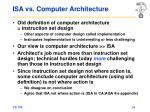 isa vs computer architecture