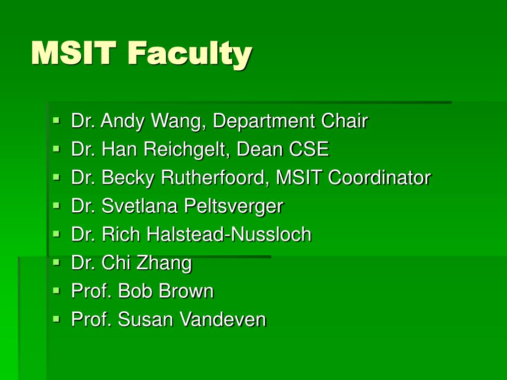 MSIT Faculty