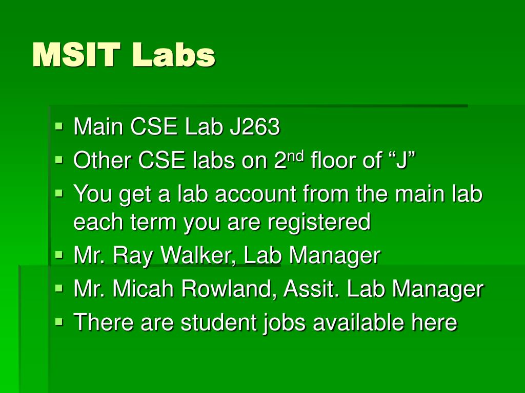 MSIT Labs