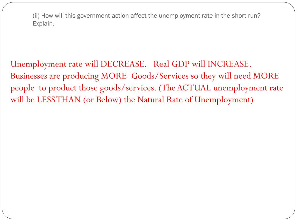 (ii) How will this government action affect the unemployment rate in the short run? Explain.