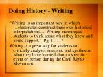doing history writing