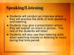 speaking listening