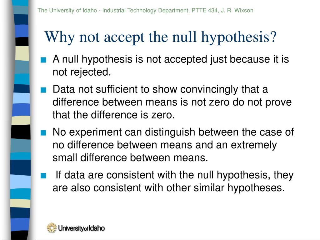 Accept or reject the null hypothesis