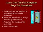 lock out tag out program prep for shutdown