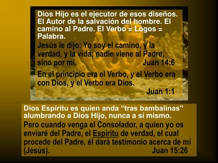 Dios Hijo es el ejecutor de esos diseños. El Autor de la salvación del hombre. El camino al Padre. El Verbo = Logos = Palabra.