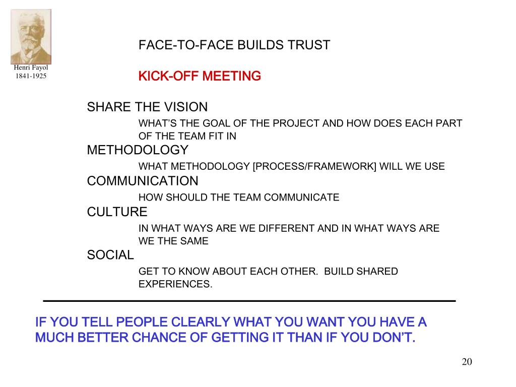 FACE-TO-FACE BUILDS TRUST