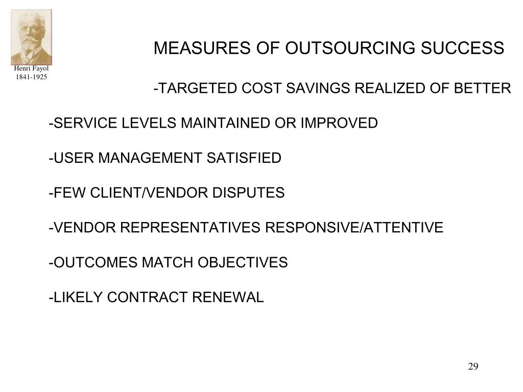 MEASURES OF OUTSOURCING SUCCESS