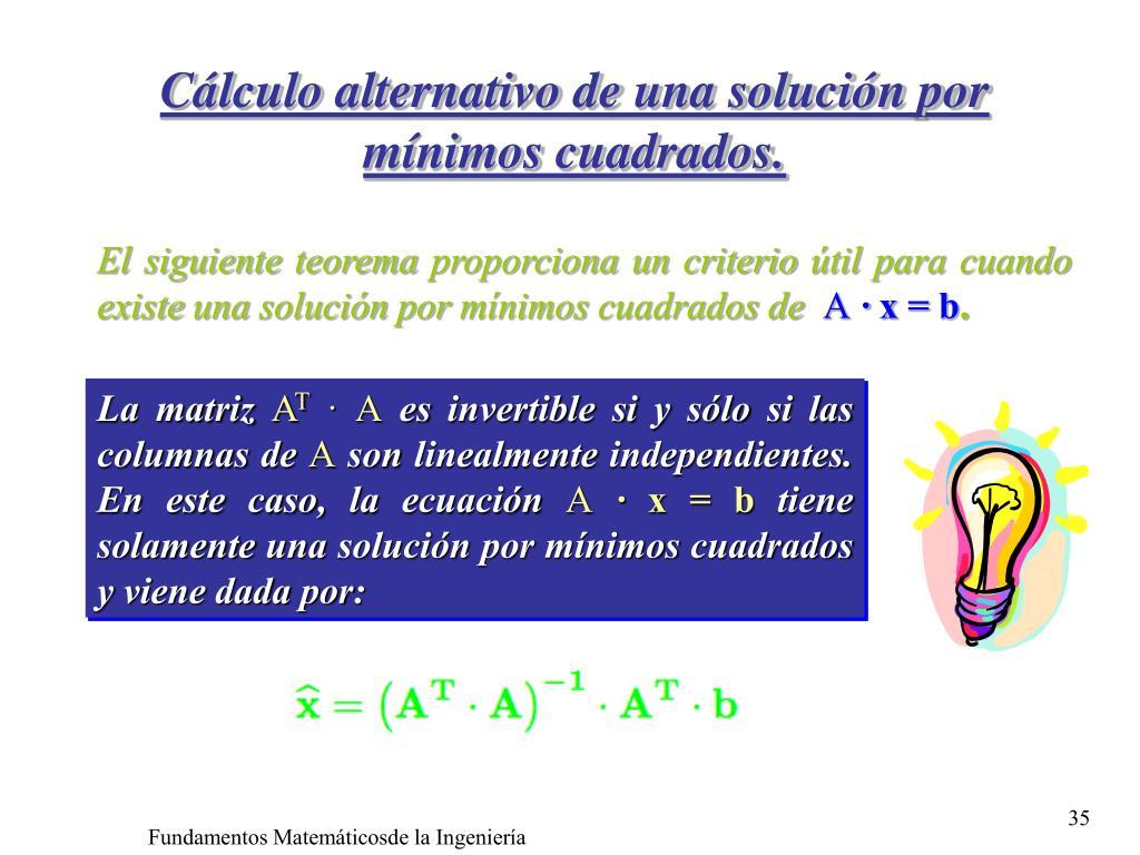 Cálculo alternativo de una solución por mínimos cuadrados.