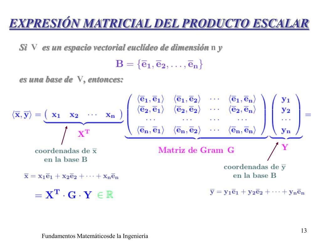 EXPRESIÓN MATRICIAL DEL PRODUCTO ESCALAR