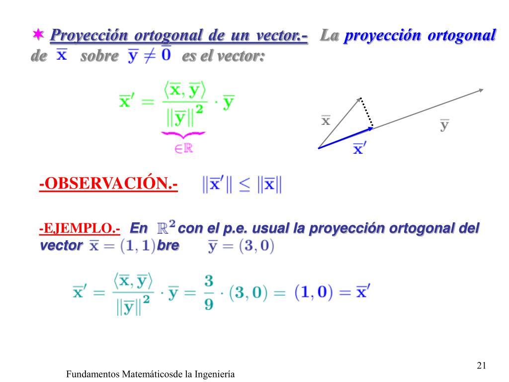 Proyección ortogonal de un vector.-