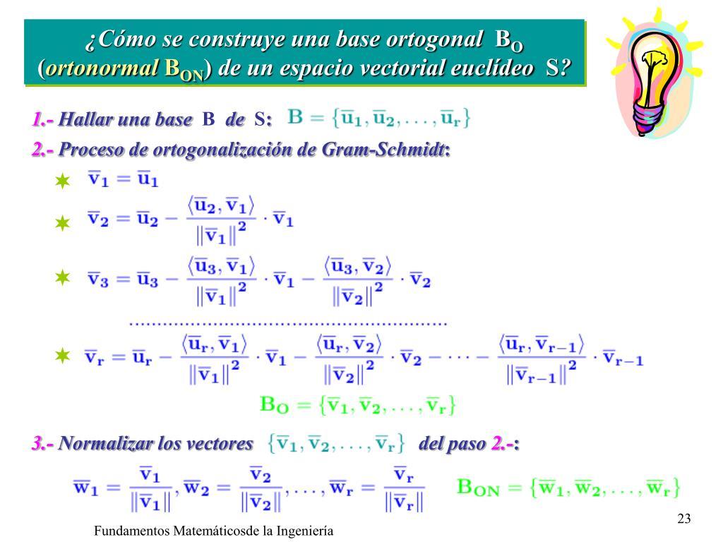 ¿Cómo se construye una base ortogonal