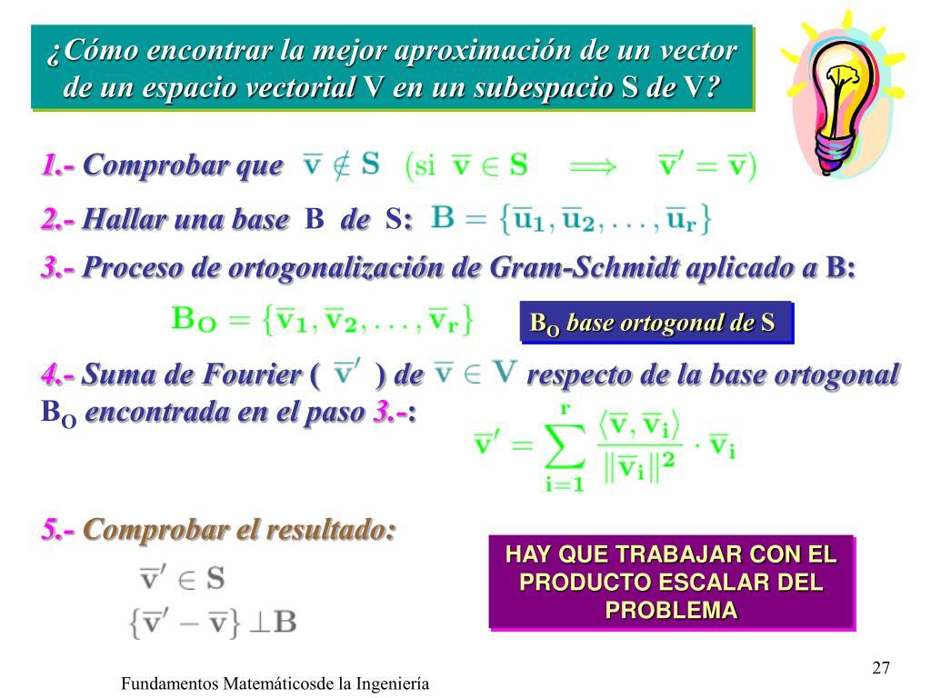 ¿Cómo encontrar la mejor aproximación de un vector de un espacio vectorial