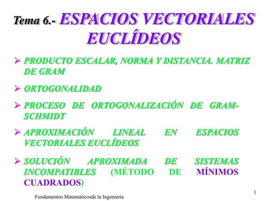 tema 6 espacios vectoriales eucl deos