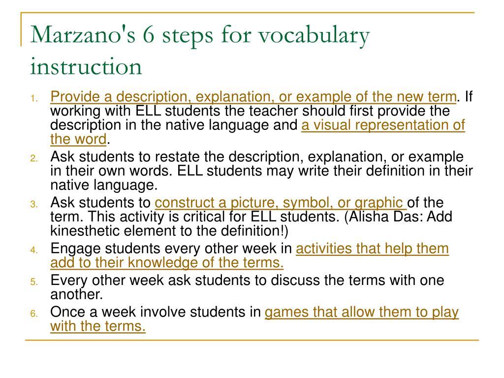 Marzano's 6 steps for vocabulary instruction