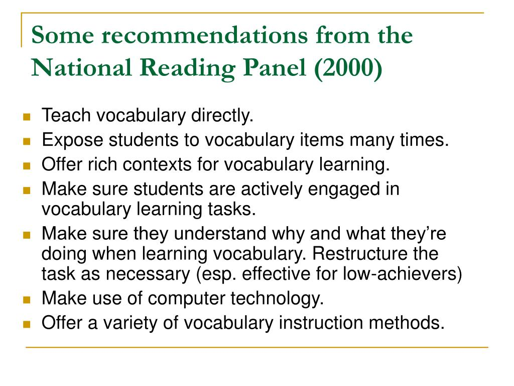 Some recommendations from the National Reading Panel (2000)