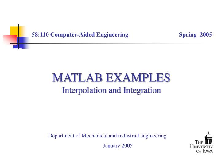Matlab examples interpolation and integration