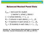 balanced nested panel data