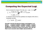 computing the expected logl