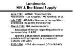 landmarks hiv the blood supply