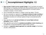 accomplishment highlights 1 2