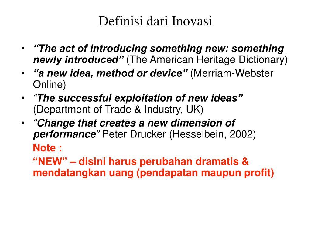 Definisi dari Inovasi