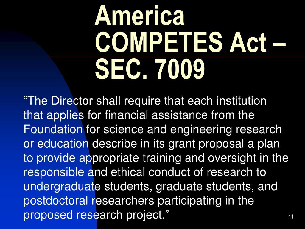 America COMPETES Act – SEC. 7009