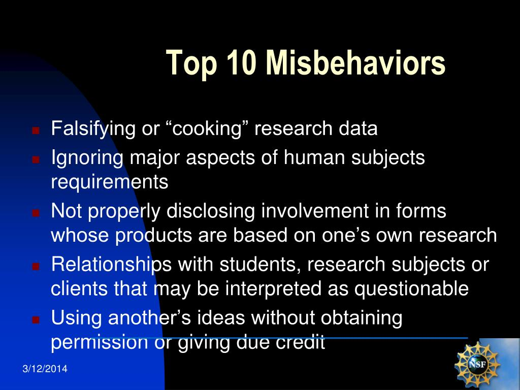 Top 10 Misbehaviors