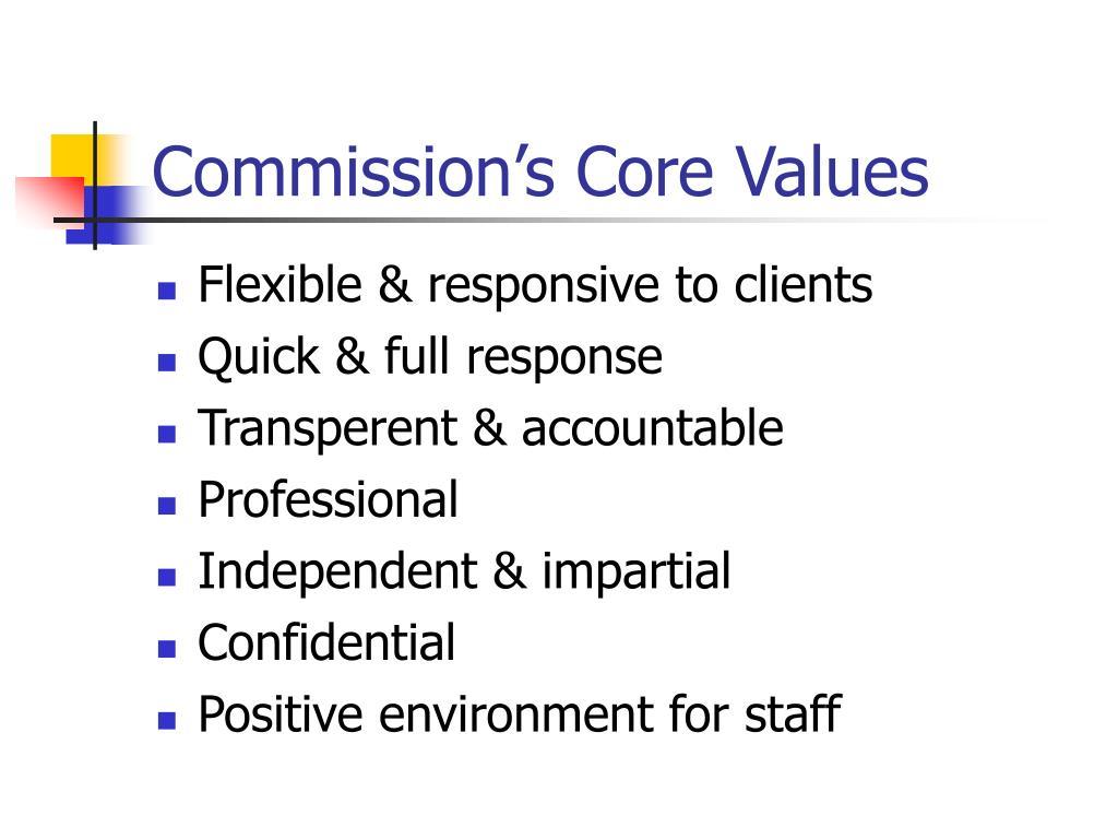 Commission's Core Values
