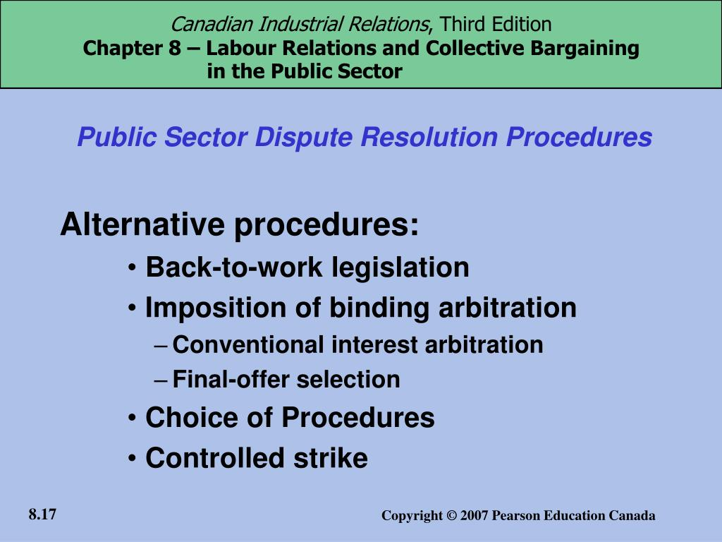 Public Sector Dispute Resolution Procedures