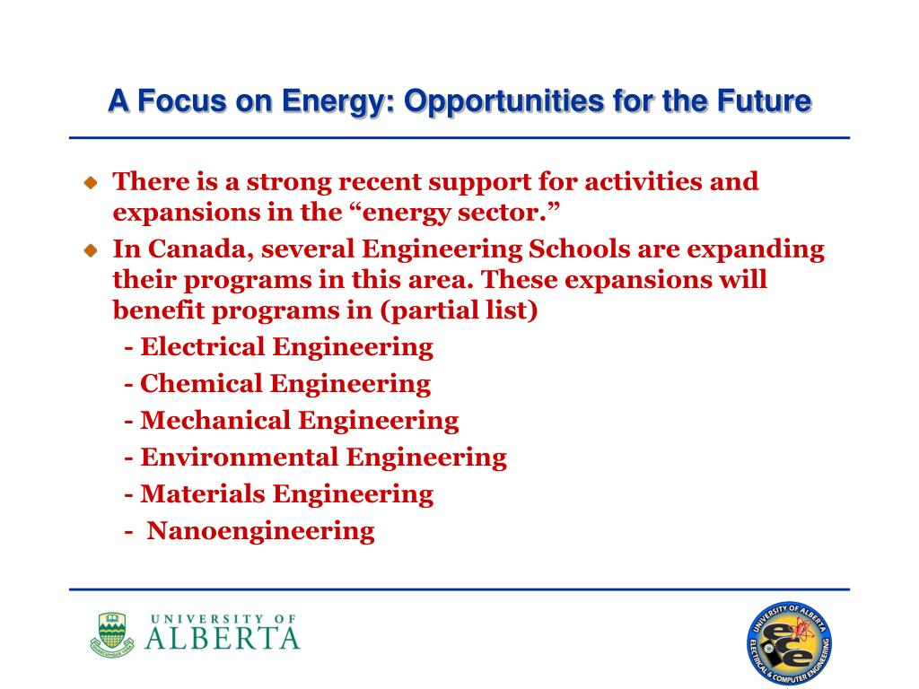 A Focus on Energy: Opportunities for the Future
