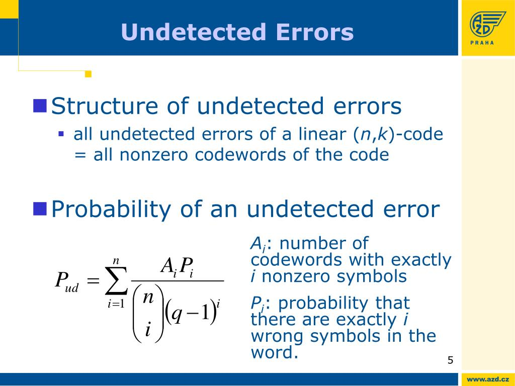 Undetected Errors