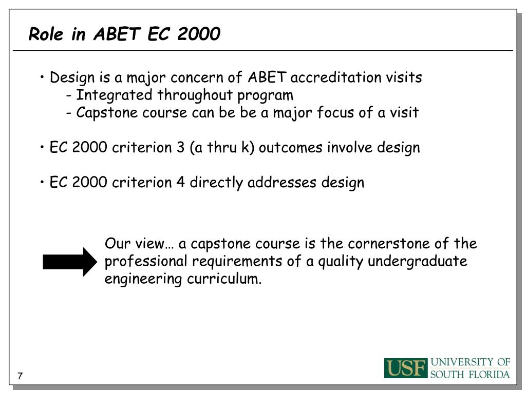Role in ABET EC 2000