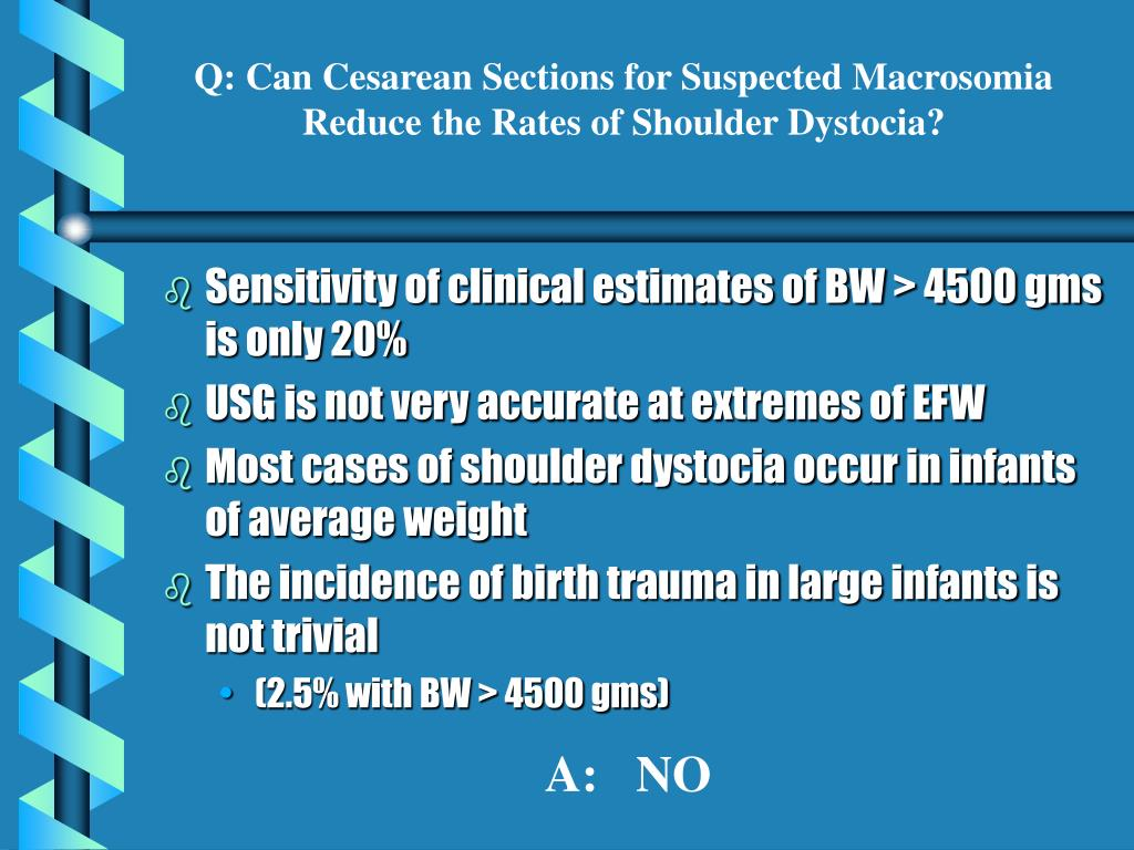 Q: Can Cesarean Sections for Suspected Macrosomia Reduce the Rates of Shoulder Dystocia?
