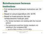 reimbursement between institutions
