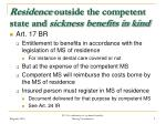residence outside the competent state and sickness benefits in kind
