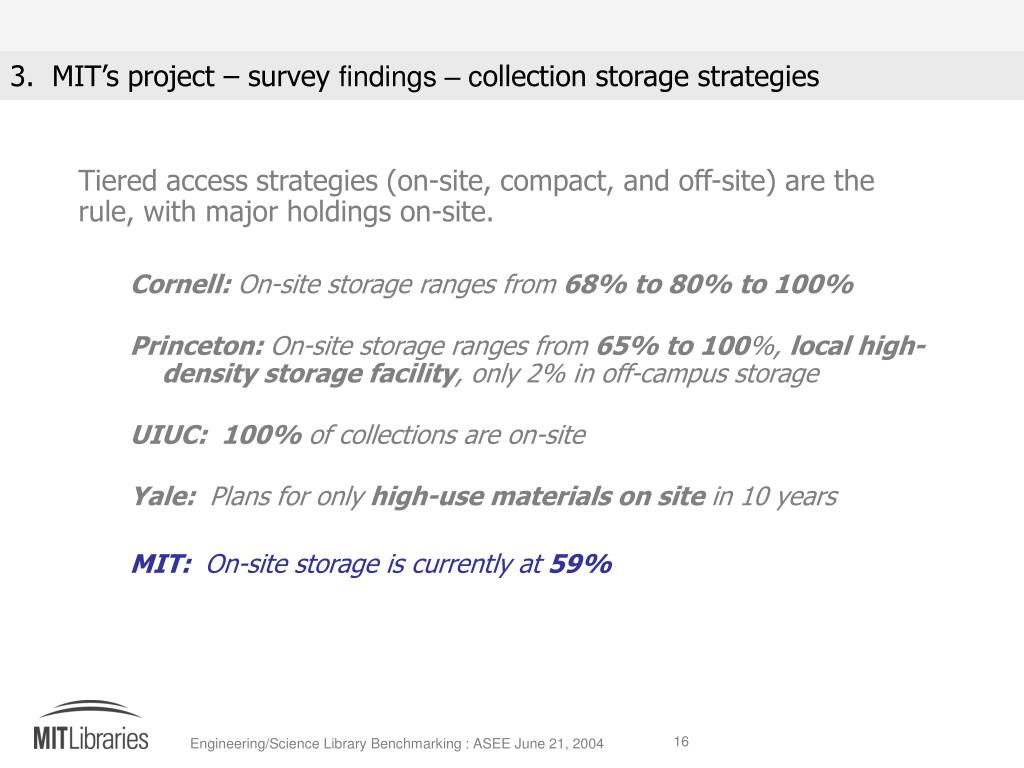 Tiered access strategies (on-site, compact, and off-site) are the rule, with major holdings on-site.