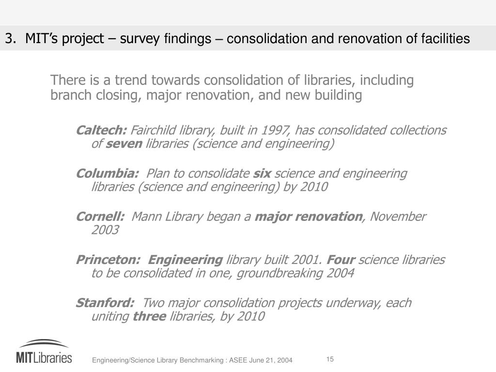There is a trend towards consolidation of libraries, including branch closing, major renovation, and new building