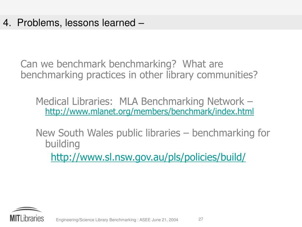 Can we benchmark benchmarking?  What are benchmarking practices in other library communities?