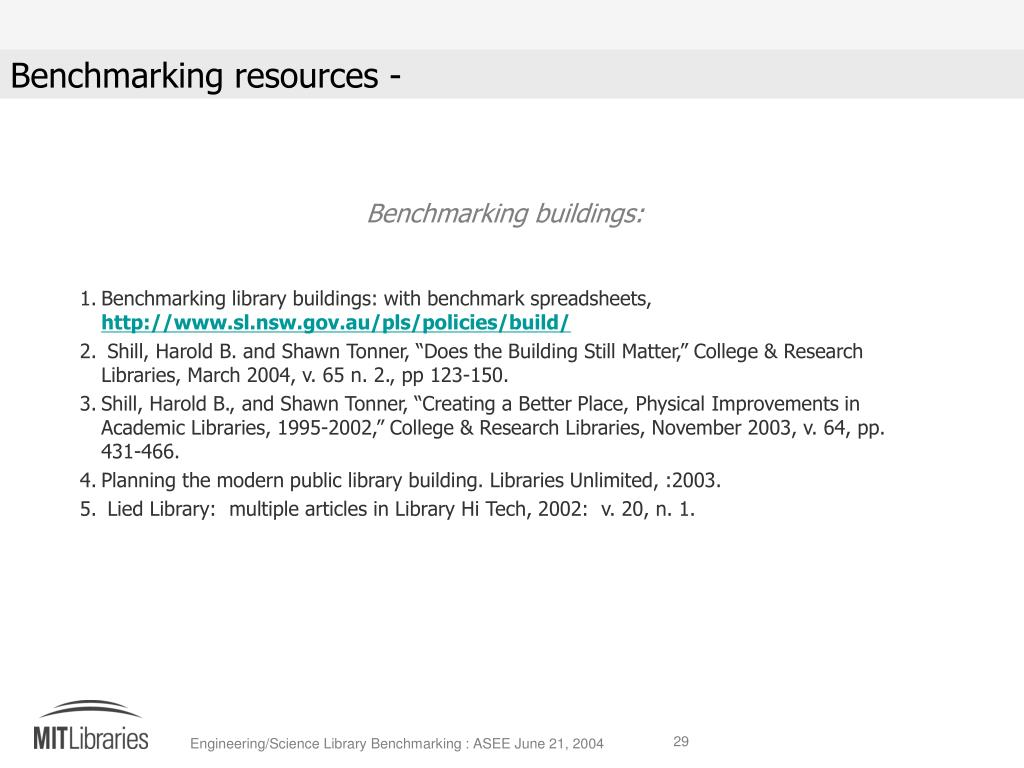 Benchmarking buildings: