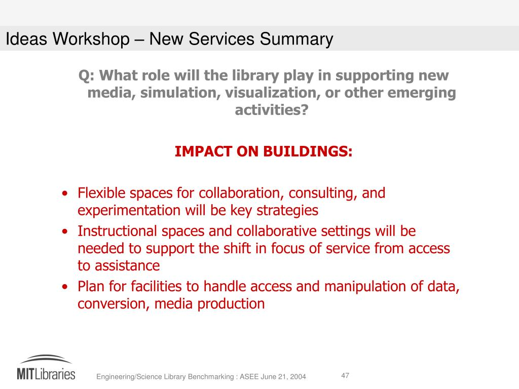 Q: What role will the library play in supporting new media, simulation, visualization, or other emerging activities?