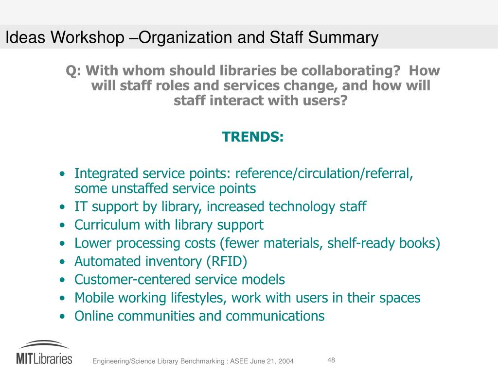 Q: With whom should libraries be collaborating?  How will staff roles and services change, and how will staff interact with users?