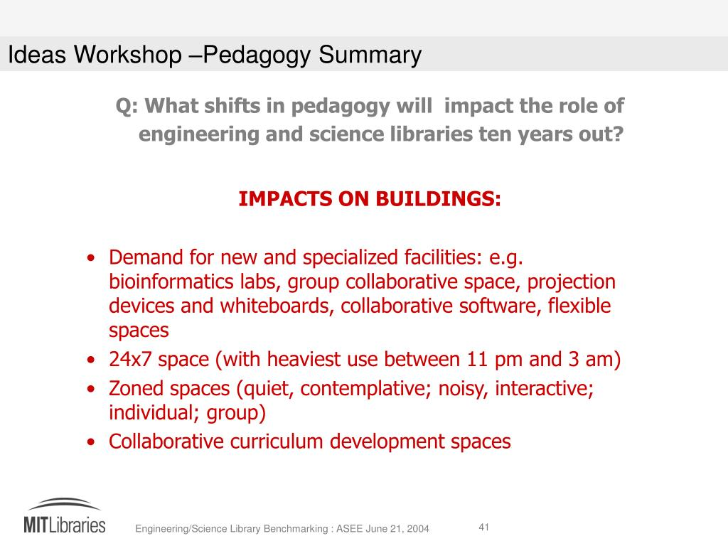Q: What shifts in pedagogy will  impact the role of engineering and science libraries ten years out?