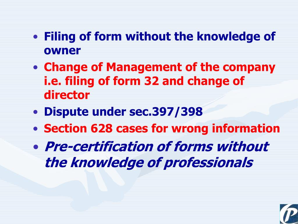 Filing of form without the knowledge of owner
