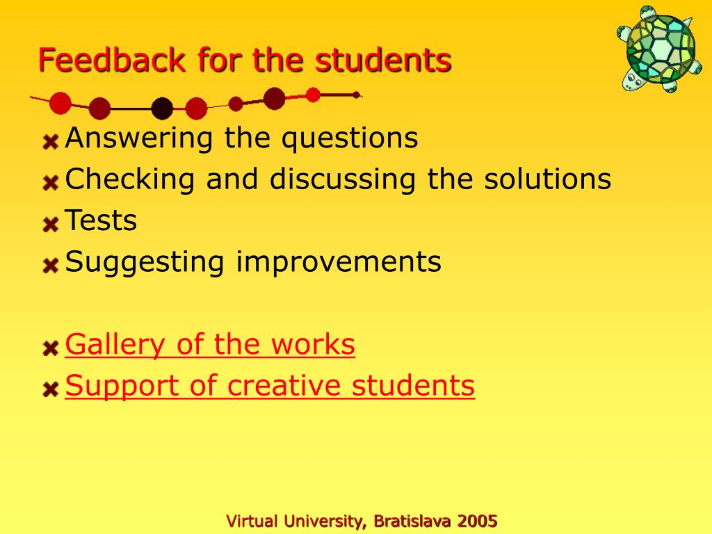 Feedback for the students