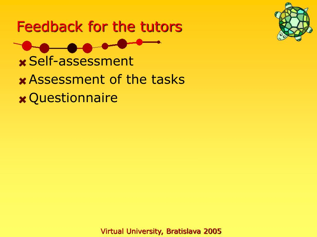 Feedback for the tutors