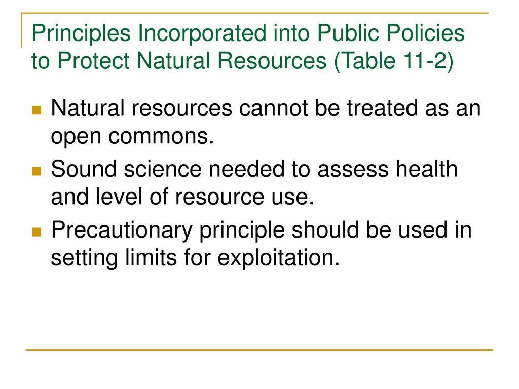 Principles Incorporated into Public Policies to Protect Natural Resources (Table 11-2)