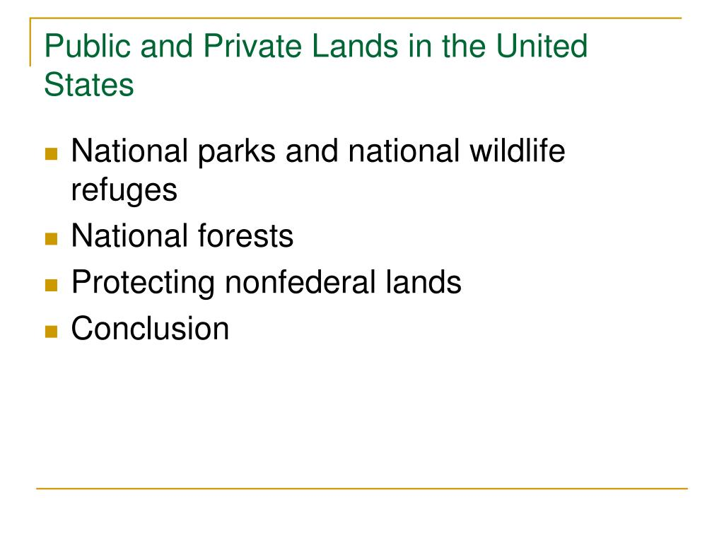 Public and Private Lands in the United States