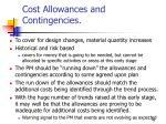 cost allowances and contingencies
