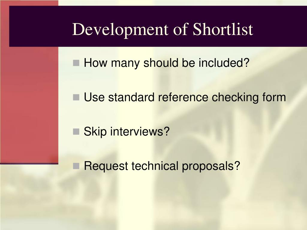 Development of Shortlist