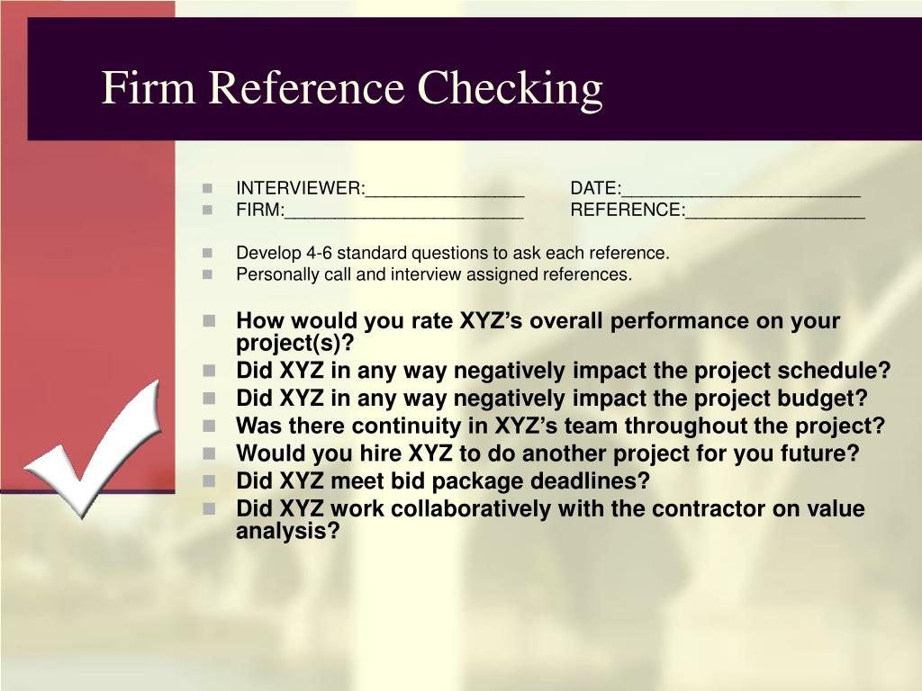 Firm Reference Checking